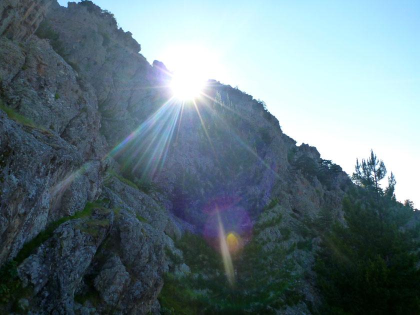 vue sur le soleil Calenzana près camping Corse